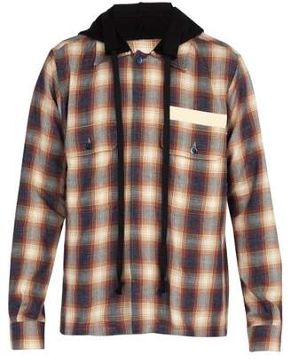 Faith Connexion Hooded Checked Cotton Shirt - Mens - Navy
