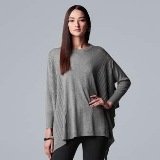 Vera Wang Women's Simply Vera Cable Knit Poncho Sweater