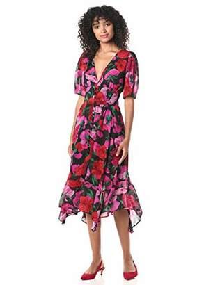 The Kooples Women's Women's Midi Black Summer Silk Dress in a Floral Print