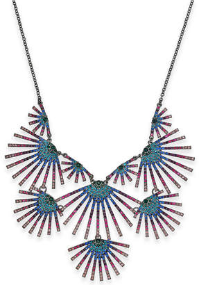 """INC International Concepts I.N.C. Hematite-Tone Crystal Burst Statement Necklace, 18"""" + 3"""" extender, Created for Macy's"""