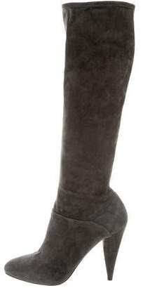 Prada Suede Round-Toe Boots