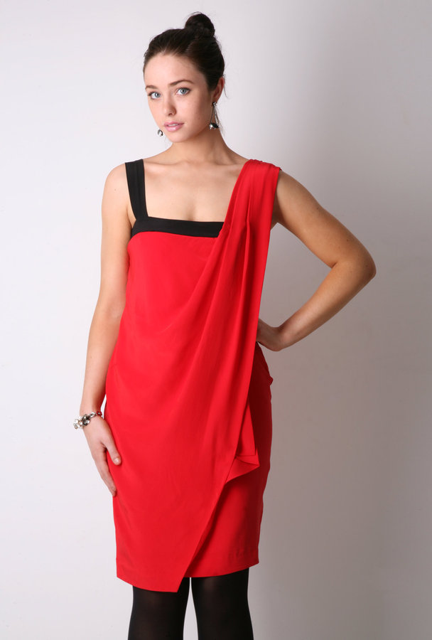 Paul Smith Black Red Asymmetrical Grecian Drape Dress