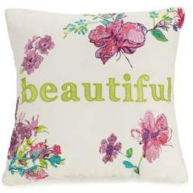 Jessica Simpson Watercolor Garden Beautiful Embroidered Decorative Pillow