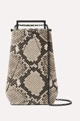 Maison Etnad - Eloine Snake-effect Leather Shoulder Bag - Gray