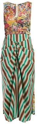 Marni Floral Print And Striped Crepe Dress - Womens - Green Multi