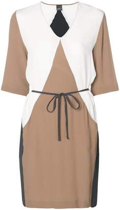 Lorena Antoniazzi colour block tie waist dress