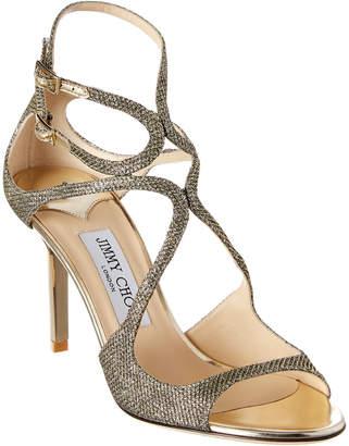 Jimmy Choo Ivette Lame Glitter Fabric Strappy Sandal