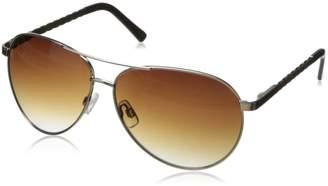 Steve Madden Women's S5477 Aviator Sunglasses,Silver