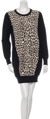 Thakoon Cheetah Panel Sweater Dress