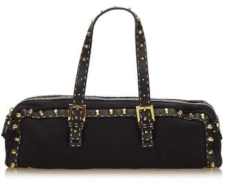 Fendi Vintage Studded Selleria Cotton Shoulder Bag
