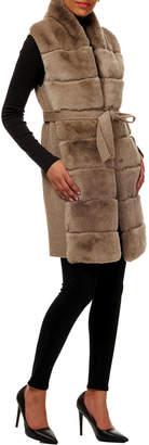 Gorski Belted Reversible Rabbit Fur Vest w/ Wool Back