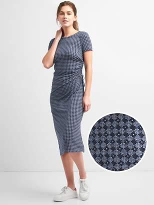 Gap Short Sleeve Ruched Side Midi Dress