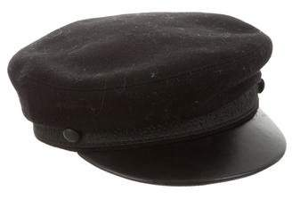 The Kooples Sport Leather-Trimmed Newsboy Cap