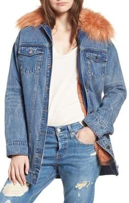 AVEC LES FILLES Denim & Faux Fur Trucker Jacket
