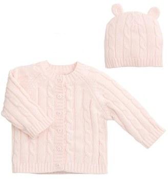 Infant Elegant Baby Cable Knit Sweater & Hat Set $40 thestylecure.com