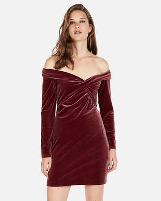 Express Off The Shoulder Twist Front Velvet Dress