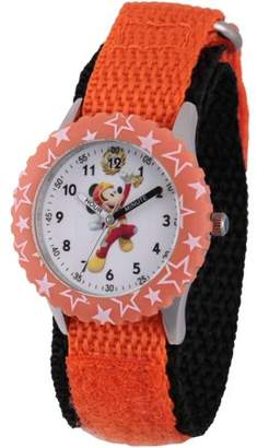 Disney Mickey Mouse Boys' Stainless Steel Time Teacher Watch, Orange Bezel, Orange Hook and Loop Nylon Strap with Black Backing