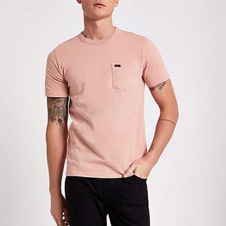 River Island Lee pink pocket crew neck T-shirt