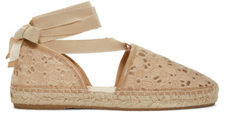 Jimmy Choo Beige Embroidered Lace Dolphin Espadrilles $425 thestylecure.com