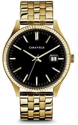 Bulova CARAVELLE Designed by Caravelle Men's Coin Edge Gold-Tone Stainless Steel Bracelet Black Dial Dress Watch 41mm