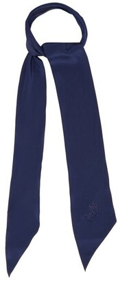Rockins - Logo Embroidered Super Skinny Silk Scarf - Womens - Blue