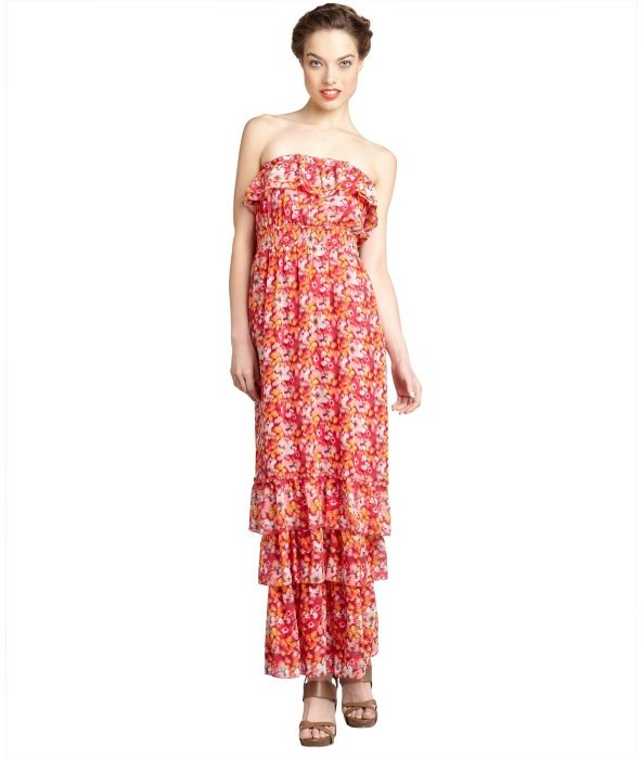 Max & Cleo cosmic pink floral print chiffon 'Elsa' strapless gown