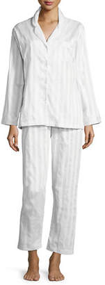 P Jamas Tina Shadow-Stripe Long-Sleeve Long Pajama Set