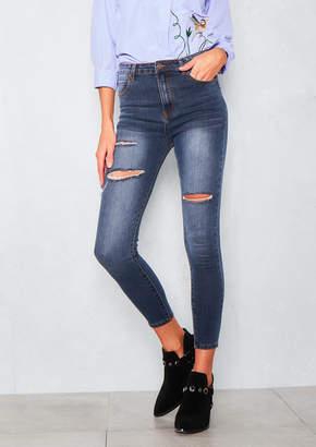 3302a759f6f4 Missy Empire Missyempire Francesca Ripped High Waist Indigo Denim Skinny  Jeans