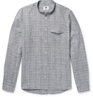NN07 Stockholm Grandad-Collar Checked Slub Cotton And Linen-Blend Shirt