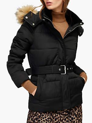 Warehouse Short Belted Coat, Black