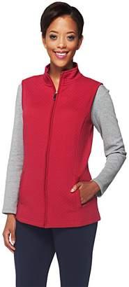 Denim & Co. Active Quilted Knit Zip Front Vest