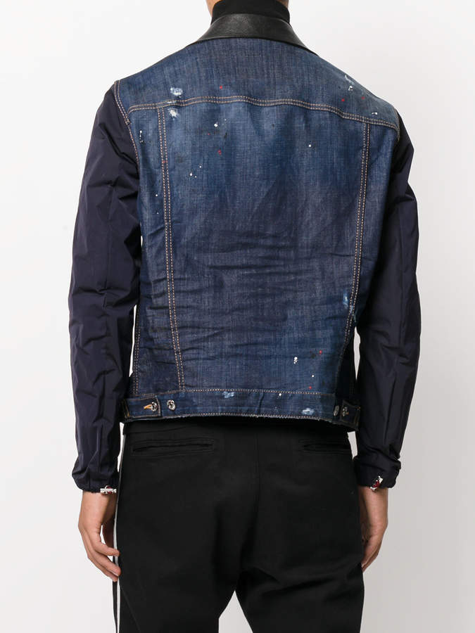 DSQUARED2 denim and leather patch jacket