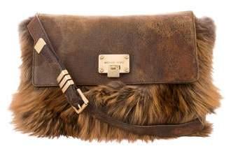 7caf6710303a Michael Kors Fur-Trimmed Messenger Bag