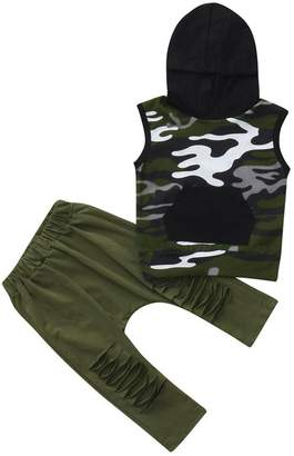 Vincent&July Baby Boys Clothes Vinjeely 2Pcs Toddler Baby Boys Camouflage Hooded Tops+Pants Outfits Clothes