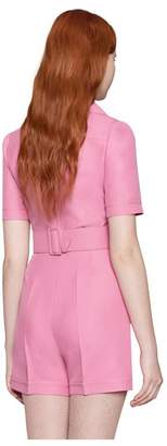 Gucci Wool silk short belted jumpsuit