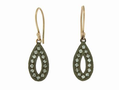 Ila&I Mily Earrings in Oxidized Sterling and Diamonds