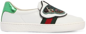 Gucci Butterfly Leather Slip-On Sneakers
