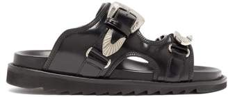 Toga Buckled Double Strap Leather Slides - Womens - Black