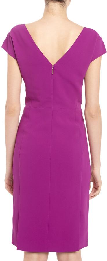 Rachel Roy Crepe Cap-Sleeve Dress, Amethyst