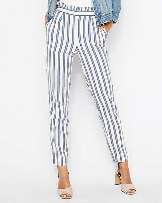 Express Petite High Waisted Stripe Ruffle Ankle Dress Pant