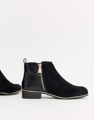 Lipsy zip up trim ankle boot in black
