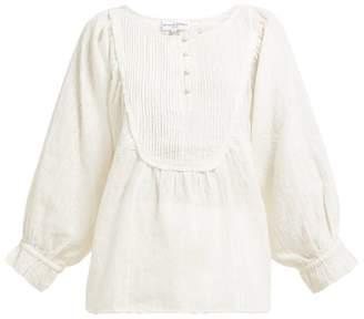 Apiece Apart Cala Pintuck Bib Cotton Blouse - Womens - Cream