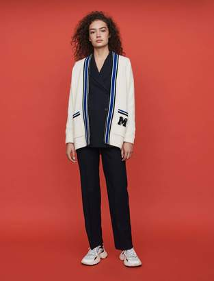 Maje Contrast striped embroidered cardigan