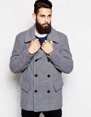 Asos Design Wool Peacoat In Light Grey