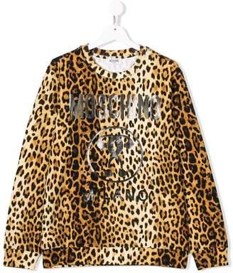 Moschino Kids TEEN leopard logo print sweatshirt