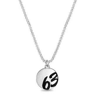 "Ben Sherman Men's 63"" Circle Pendant Necklace on Rolo Chain in Stainless Steel"