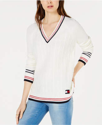 Tommy Hilfiger V-Neck Cable-Knit Sweater