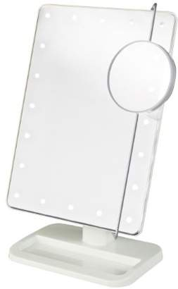 Jerdon JS811W 8-Inch by 11-Inch Rectangular LED Lighted Vanity Mirror with 10x Magnification Spot Mirror