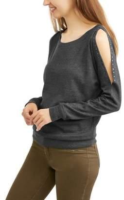 Generic Women's Cold Shoulder Studded Pullover Sweatshirt