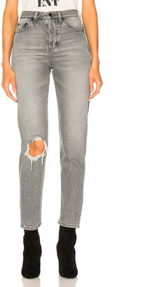 Saint Laurent (サン ローラン) - Saint Laurent Slim Fit Knee Hole Jeans in Dirty Light Grey | FWRD